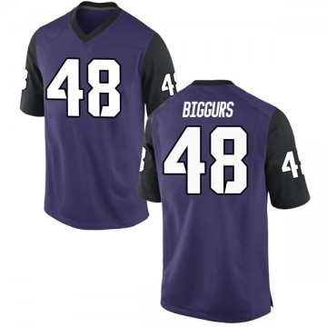 Men's Caleb Biggurs TCU Horned Frogs Nike Game Purple Football College Jersey