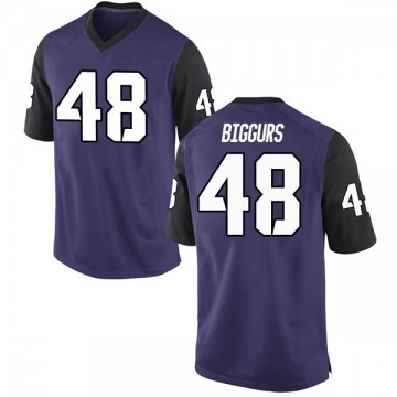 Men's Caleb Biggurs TCU Horned Frogs Nike Replica Purple Football College Jersey