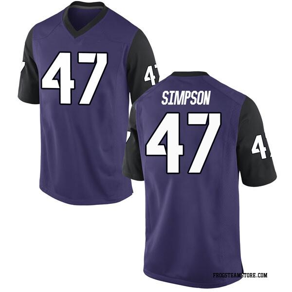 Men's Jacoby Simpson TCU Horned Frogs Nike Replica Purple Football College Jersey