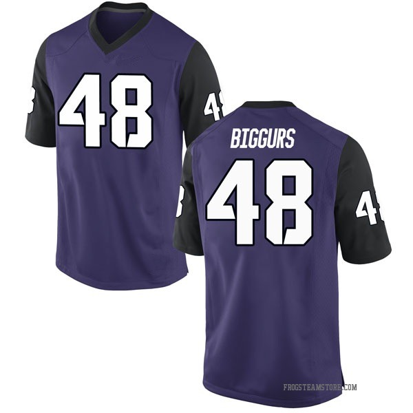 Youth Caleb Biggurs TCU Horned Frogs Nike Game Purple Football College Jersey