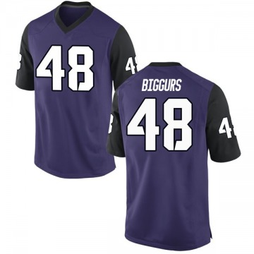 Youth Caleb Biggurs TCU Horned Frogs Nike Replica Purple Football College Jersey