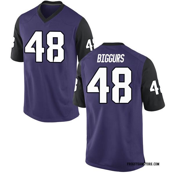 Youth Caleb Biggurs TCU Horned Frogs Nike Replica Purple Football College Jersey