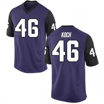 Youth Connor Koch TCU Horned Frogs Nike Replica Purple Football College Jersey