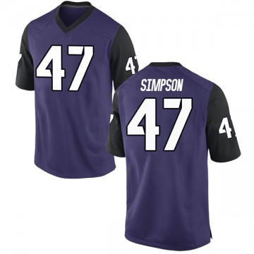 Youth Jacoby Simpson TCU Horned Frogs Nike Game Purple Football College Jersey